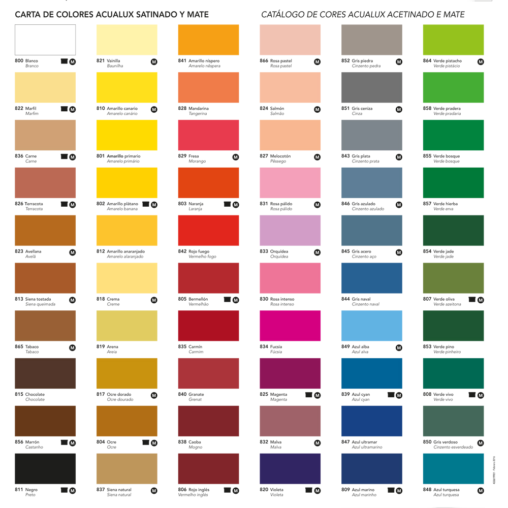 Carta cores-Acualux Acrilica Titan